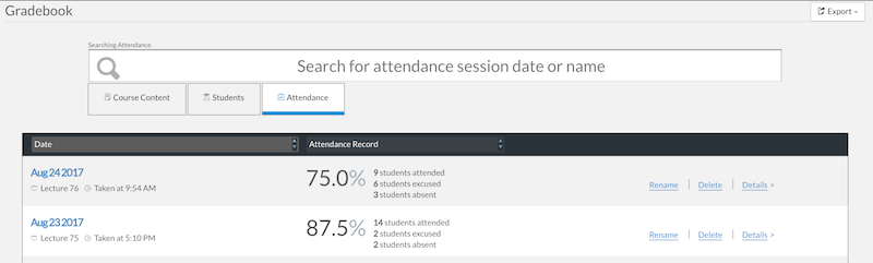 professor editing a student s attendance record