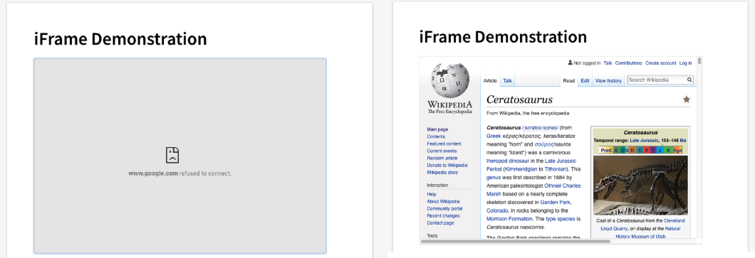Professor: Iframes in Pages