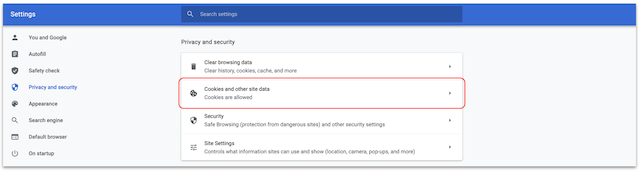 Google Chrome browser settings page. Privacy and security is selected in menu on left side of screen and Cookies and other site data option is circled in the Privacy and security option block.